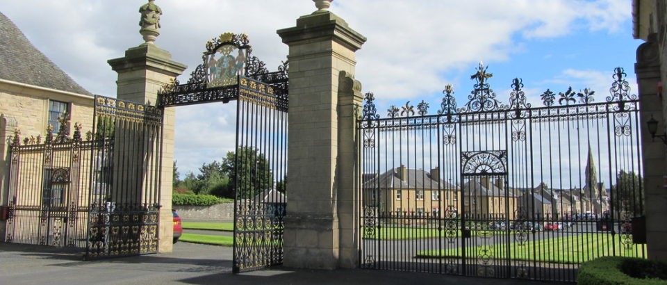 Floors Castle Gates at the end of Roxburgh Street, Kelso