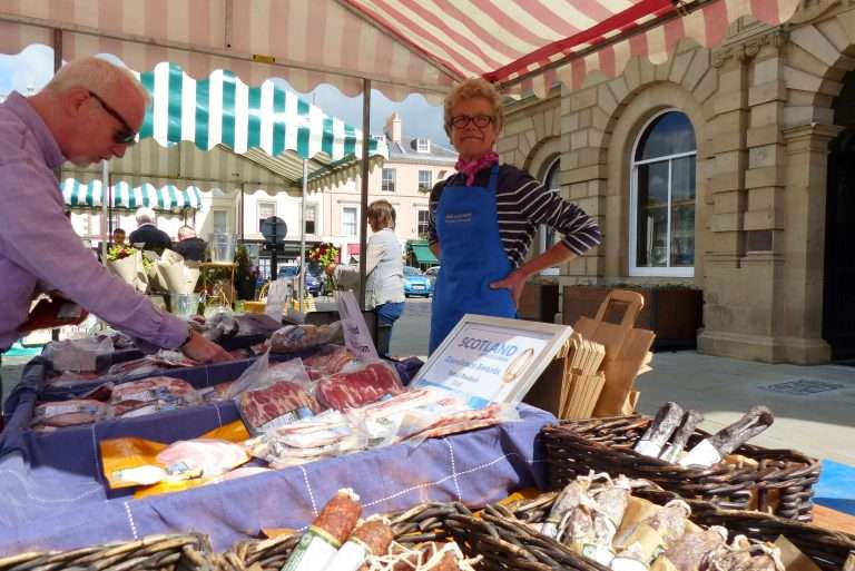 Prize winning products from Peelham, at Kelso Farmers Market