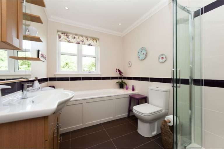 Bathroom with shower and double ended bath