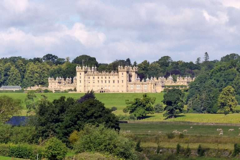 Floors Castle above the banks of the River Tweed