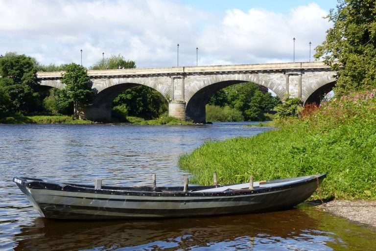 Salmon fishing boat on the Junction beat on The River Tweed